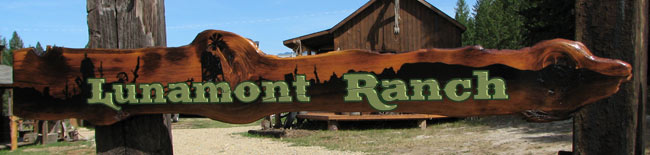 Lunamont Ranch Hand-Painted Sign on Natural Wood