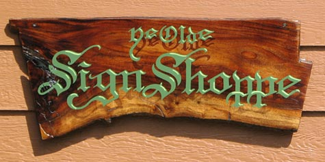 Ye Olde Sign Shoppe Hand Painted Sign on Natural Wood